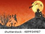 halloween design   landscape... | Shutterstock . vector #489934987