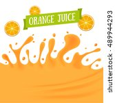 orange juice splash background... | Shutterstock .eps vector #489944293
