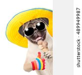 Stock photo puppy peeking from behind empty board holding ice cream and showing thumbs up isolated on white 489949987