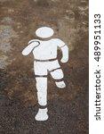 white painted sign on asphalt... | Shutterstock . vector #489951133
