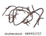 Rusty Barbed Wire On White...
