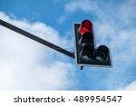 Traffic Lights Over Blue Sky.