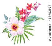 watercolor tropical flower ... | Shutterstock . vector #489963937