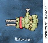happy halloween cartoon... | Shutterstock .eps vector #489965377