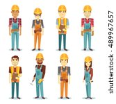 builder contractor man and... | Shutterstock .eps vector #489967657