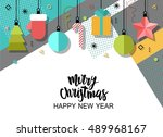 merry christmas and new year... | Shutterstock .eps vector #489968167