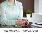 business woman hands  in a... | Shutterstock . vector #489987793