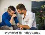 portrait of two handsome men...   Shutterstock . vector #489992887