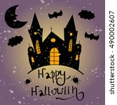 happy halloween card. halloween ... | Shutterstock .eps vector #490002607