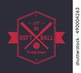 softball vintage emblem  logo ... | Shutterstock .eps vector #490004263