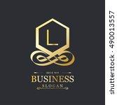 l letter logo  gold emblem ... | Shutterstock .eps vector #490013557