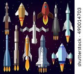 vector symbol of spaceship ... | Shutterstock .eps vector #490014703
