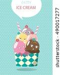 mixed ice cream scoops vector... | Shutterstock .eps vector #490017277