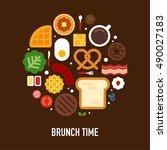 variation delicious brunch food ... | Shutterstock .eps vector #490027183