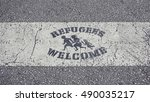 welcome refugees roadside sign  ...   Shutterstock . vector #490035217