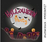 halloween background with... | Shutterstock .eps vector #490036927