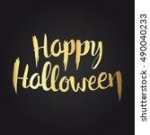 happy halloween golden... | Shutterstock .eps vector #490040233