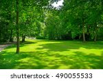 bright meadow with green grass... | Shutterstock . vector #490055533