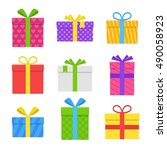 colorful gift or present box... | Shutterstock .eps vector #490058923