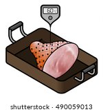 a ham in a roasting pan with a... | Shutterstock .eps vector #490059013