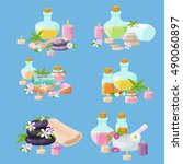 set of spa treatment symbols.... | Shutterstock .eps vector #490060897