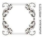 vintage border frame engraving...   Shutterstock .eps vector #490072273