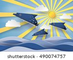 origami made dolphin swimming... | Shutterstock .eps vector #490074757