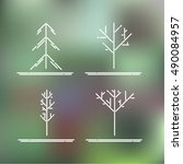 set of four trees on abstract... | Shutterstock .eps vector #490084957