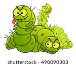 four green evil caterpillars.... | Shutterstock .eps vector #490090303