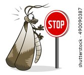 cartoon moth watching on stop... | Shutterstock .eps vector #490090387