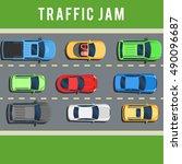 traffic jam  transport collapse ... | Shutterstock .eps vector #490096687