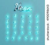 realistic neon character... | Shutterstock .eps vector #490098643
