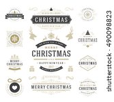christmas labels and badges... | Shutterstock .eps vector #490098823