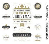 christmas labels and badges... | Shutterstock .eps vector #490098847