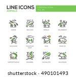 animals   set of modern line... | Shutterstock . vector #490101493