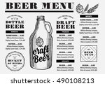 beer menu placemat food... | Shutterstock .eps vector #490108213