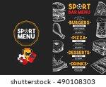 sport bar menu placemat food... | Shutterstock .eps vector #490108303