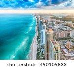 skyline of miami beach ... | Shutterstock . vector #490109833