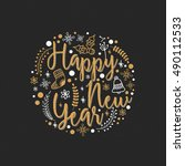 stylish happy new year... | Shutterstock .eps vector #490112533