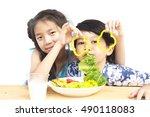 asian boy and girl showing... | Shutterstock . vector #490118083