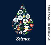 science icon in shape of drop.... | Shutterstock .eps vector #490134583