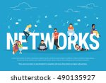 networks concept illustration... | Shutterstock .eps vector #490135927