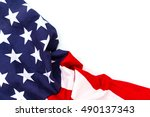american flag on white... | Shutterstock . vector #490137343
