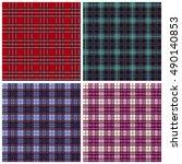 plaid  fabric ornament set... | Shutterstock .eps vector #490140853