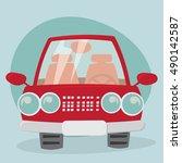 cartoon car   front view | Shutterstock .eps vector #490142587