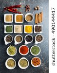 various dried herbs and spices... | Shutterstock . vector #490144417
