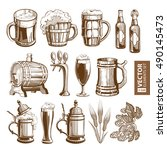 hand drawn vintage brown beer... | Shutterstock .eps vector #490145473
