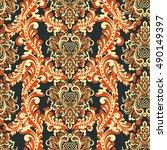 damask style seamless pattern.... | Shutterstock .eps vector #490149397