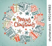 christmas greeting card with... | Shutterstock .eps vector #490149883