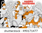 Illustration Of Hanuman Doodle...